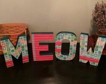 Cat Lover, Meow, Kitten, Cat Home Decor, Paper Mache,Cat Sign,Cat Words,Four Legged Love