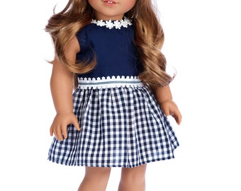 Saturday Afternoon - Doll Clothes for 18 inch American Girl Doll - Navy Blue Dress (Shoes sold separately)