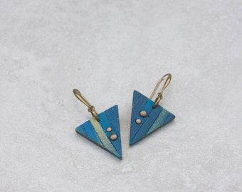 Geometric Earrings - Triangle Earrings - Simple Everyday Earrings -  Modern Polymer clay earrings - Unique earrings