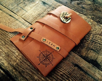 50% OFF!  Compass Refillable Leather Journal......Leather Notebook Custom Journal -- Made in Portland, OR