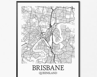 Brisbane Map Art Print, Brisbane Poster Map of Brisbane Decor, Brisbane City Map Art, Brisbane Gift, Brisbane Queensland Art Poster
