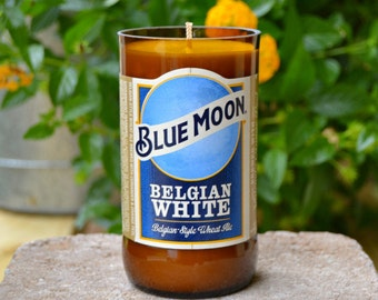 Blue Moon Beer Bottle Candle made with soy wax