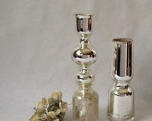 modern mercury glass vases, unusual and fabulous design, sold as a pair