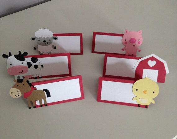 12 farm animal place cards farm animal food table card farm for Animal decoration games for girls