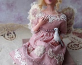"Art doll - OOAK handmade angel doll, fairy, shabby chic decor, decorative posable doll, sculpture ""Angel sings"" - 6 inch"