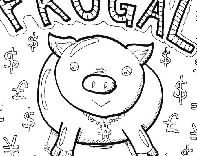 Coloring Page, Printable - Piggy Bank with Dollar Signs
