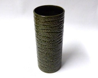 Apollo 8 commemorative vase by Royal Norfolk Pottery, England. 1960s vintage, dark green textured. Mid century/Modernist/Space Age.