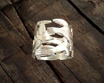 Flying birds ring |Silver band ring |bird in flight ring |925 sterling silver adjustable  bird ring |Fikos birds ring