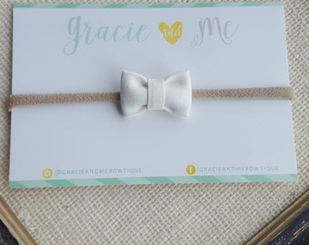 White Linen Bitty Bow on Nylon Headband - One Size Fits All - White Fabric Bow - Gracie and Me