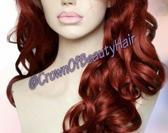 Synthetic Wig,150% Density,Lace Front Wig,Wavy Hair,Synthetic Lace Front Wig,Colour #350 Wig,Colour #350,18 Inch Wig,#350,Red Hair,#350 Hair
