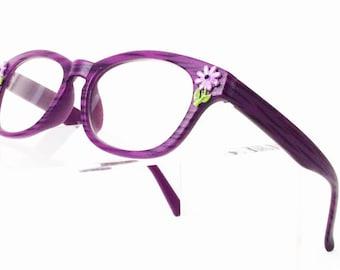 Retro Flower Reading Glasses +1.75, Flower power, Daisy, Purple