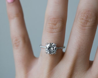8mm Forever One Colorless Moissanite Engagement Ring | Claw Prong Setting | Hand Pavé Moissanite Band | Recycled Gold Minimal Modern Band