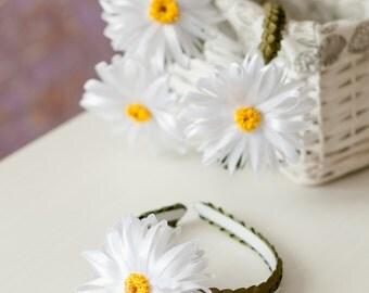 Big daisy headband Large daisy flower crown White daisy hair piece Daisy floral crown for girls Kanzashi daisy flower crown Gift for girls