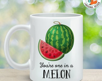 Coffee Mug Watermelon Coffee Cup - Great Gift for Vegan or Vegetarian - You're One in a Melon Coffee Mug
