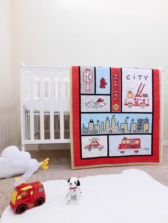Firefighter Baby Quilts Fireman Crib Bedding By