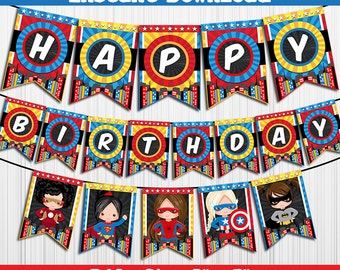 50% OFF SALE SuperHeroes Super Heroes / Banner / Instant Download / Party Printable / Happy Birthday / Girls Girl - Chalkboard