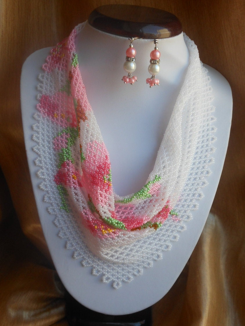 beaded scarf necklace scarf scarf pink beaded necklace