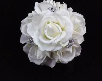 White Rose Bridal Toss Bouquet-Rhinestone Bridal Toss Bouquet-Toss Away Bouquet-Wedding Bouquet