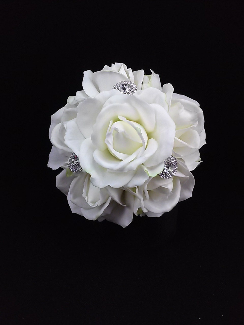 Bridal Bouquet Throwing : White rose bridal toss bouquet rhinestone by