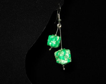 origami paper cube pendant earrings