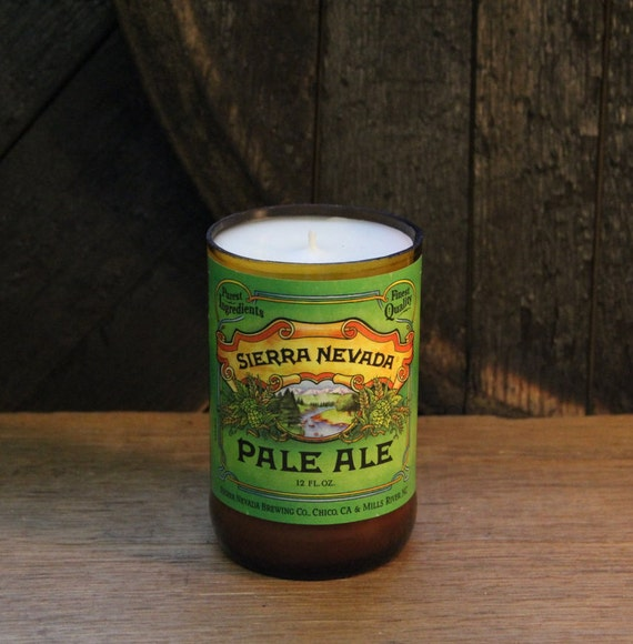 Upcycled Craft Beer Bottle Candle - Recycled Sierra Nevada Pale Ale Beer Candle 10 oz. Handmade Soy Wax Candle Unique Beer Candle Microbrew