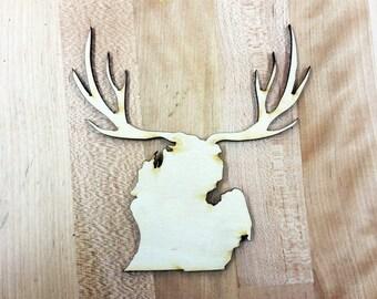 laser cut wood Michigan with Deer Antlers