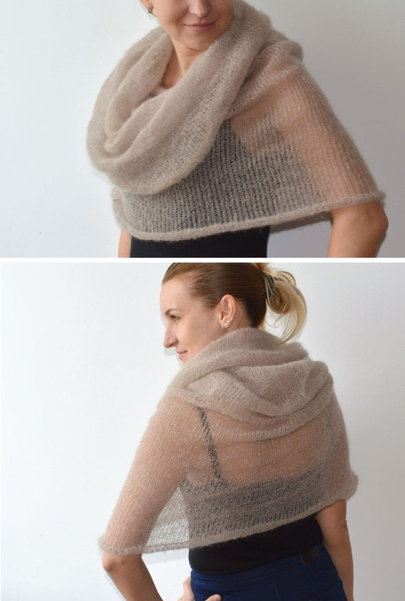 Beige scarf knit mohair infinity scarf mohair shawl knit