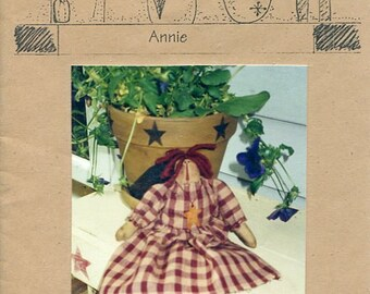 "FREE US SHIP Lizzie's Home Spun Primitive Folk Art Doll Annie 11"" Old Store Stock Sewing Pattern Ragdoll cloth"