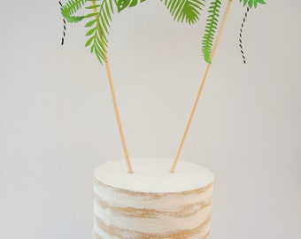 tropical leaf cake topper