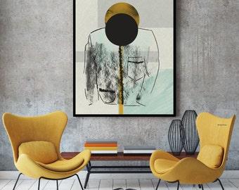 Black circle chalkboard print, graphic design poster textured art large wall art, geometric poster, large art prints, ikea ribba, ikea frame