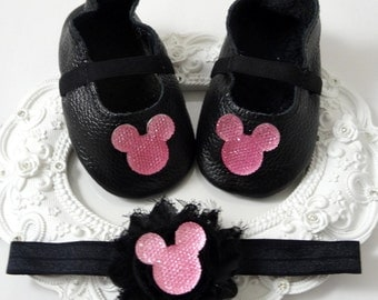 Genuine Leather Baby Girl Crib Shoes and Headband Set, Newborn Baby Girl Shoes, Accessories, Shower Gift, Gift for Baby
