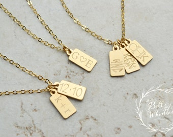 Wedding Date Necklace, Anniversary Date Necklace / Gold, Silver, Rose Gold / Personalized Initial Necklace, Wedding Gift, RECTANGLE
