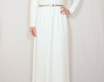 Long white dress White Maxi dress with sleeves