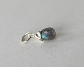 Tiny Labradorite Charm - Sterling Silver Wire Wrapped Add-On Dangle - Genuine Blue Flash Labradorite Gemstone - Necklace Jewelry