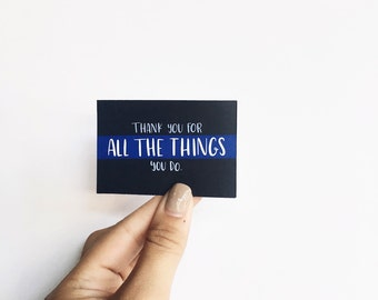 Thank You For All the Things You Do, Set of 12– Police Officer Appreciation, Thank You Police, Tiny Card, Mini Card, Random Acts of Kindness