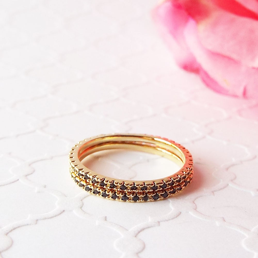 Gold plated 1 mm Black diamond Eternity Ring CZ black Eternity Ring Full Eternity Micro Pave Ultra thin Gold stacking Band