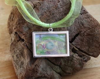 Hobbit House Necklace, Miniature Picture Frame Pendant, Organza cord