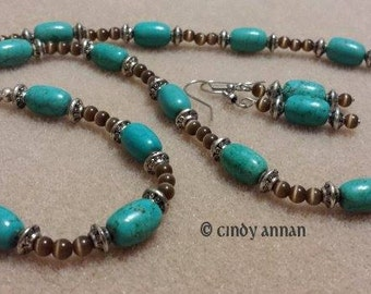 Turquoise and Brown Cats Eye Necklace Bracelet and Earrings Set