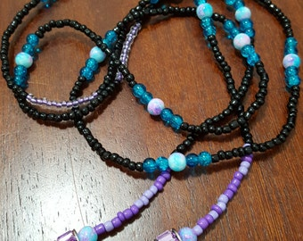 Lavender and Black Glass Bead Lariat 58 inches