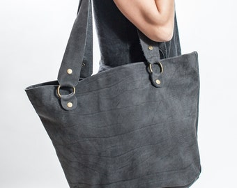 Big Black Leather Tote Bag - Handmade Leather Bag - Shopping Bag - Leather Shoulder Bag - Large Tote Bag - Women Shoulder Bag - Leather Hobo