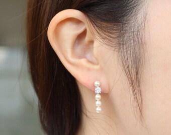 Pearl bar earrings, dainty earrings, pearl cubic bar earrings, drop earrings, minimalist earrings