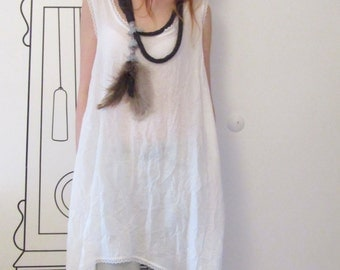 White Sleeveless Tunic Top / Loose Tunic / Minimalist Tunic Top by FabraModaStudio