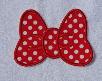 Minnie Mouse Bow - Red Polka Dot Iron on Applique Patch