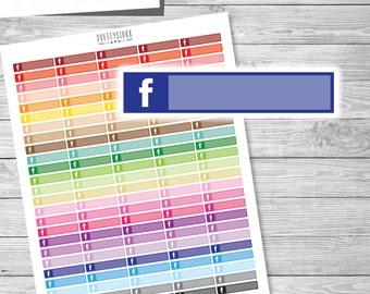 Facebook Box Stickers, Printable Facebook Stickers, Facebook Post Planner Stickers, Facebook Appointment Stickers, Facebook Planner - PS184