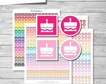 Birthday Cake Stickers, Printable Birthday Stickers, Birthday Cake Planner Stickers, Party Planner Stickers, Printable Party Stickers - PS53