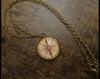 Compass necklace steampunk maritime bronze glass cabochon pendant sailor