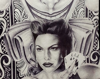 Prison Art Pin Up Chola Style Inspired Lowrider Sketch