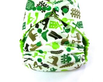 Farm Cloth Diaper, Pocket Diaper, One Size Diaper