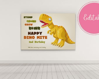 Dinosaur Bday Party, Dinosaur Backdrop, Yellow Dinosaur Bday Party Decorations, Dessert Table, Candy Buffet Backdrop, First Bday Party 0077A