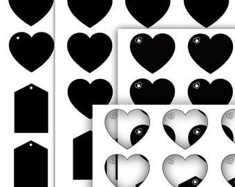 Digital Tags template heart Printable gift tag DIY digital hang tag Gift tag template